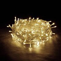 🔥 Гирлянда Нить светодиодная LED 200 лампочек Теплая Белая, 1100 см, прозрачный провод (1120-07)