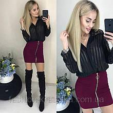 Модная женская мини-юбка с молнией,размеры:42,44,46,48.