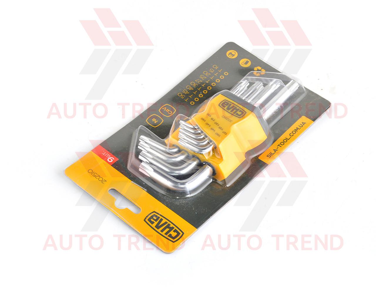 Набор Г-образных ключей Torx (Т10, Т15, Т20, Т25, Т27, Т30, Т40, Т45, Т50) коротких CrV 9 шт.