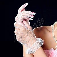 Перчатки гипюровые, кружевные (p770) Белые