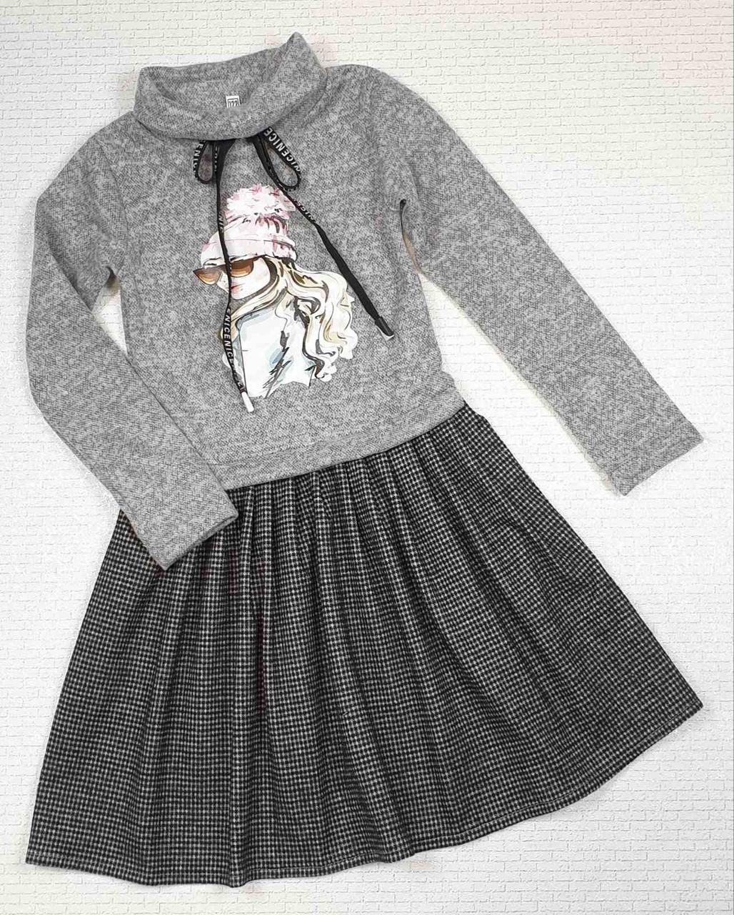 Платье теплое для девочки с принтом р.110-128 опт