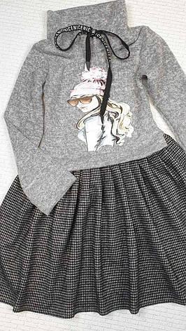 Платье теплое для девочки с принтом р.110-128 опт, фото 2