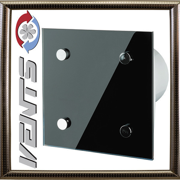 Вентилятор Вентс 100 Модерн ТН черный цвет глянец BLACK GLAMUR Vents modern -T black
