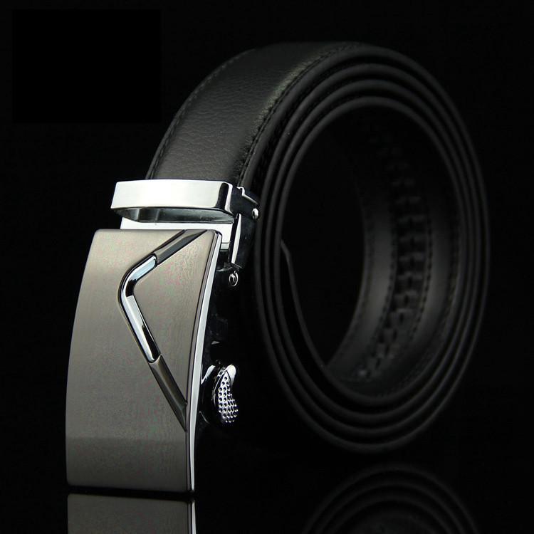 Мужской Ремень Кожаный с Автоматической Пряжкой Пояс (006) Черный 125см