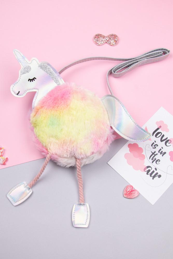 Детская сумочка меховая Единорог