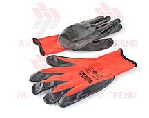 Перчатки трикотажные бесшовные с нитрил. покрытием ладони, красно-черные, 40-42г плотные (размер 10)