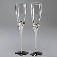 Свадебные бокалы высокого качества на металической ножке