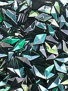 """Объёмный декор для маникюра  """"Чешуя дракона"""",сине-зеленый ромб, фото 2"""