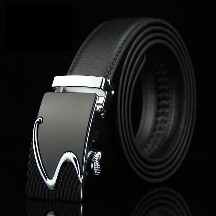 Мужской Ремень Кожаный с Автоматической Пряжкой Пояс (016) Черный 115см