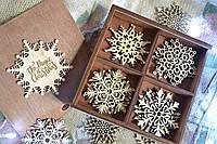 Новогодние резные игрушки из дерева в подарочной коробке