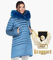 Воздуховик женский с натуральным мехом на капюшоне Braggart Angel's Fluff - 31038 аквамариновый