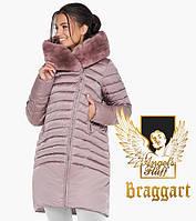 Воздуховик женский с натуральным мехом на капюшоне Braggart Angel's Fluff - 31038 пудра