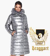 Воздуховик женский с натуральным мехом на капюшоне Braggart Angel's Fluff - 31094 серебро