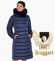 Воздуховик женский с натуральным мехом на капюшоне Braggart Angel's Fluff - 31094 синий