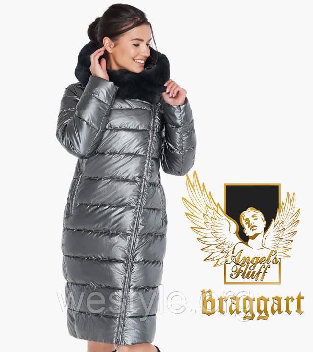 Воздуховик женский с натуральным мехом на капюшоне Braggart Angel's Fluff - 31049 темное серебро