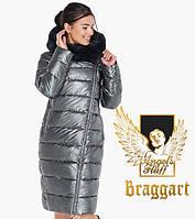 Воздуховик женский с натуральным мехом на капюшоне Braggart Angel's Fluff - 31049 темное серебро, фото 1