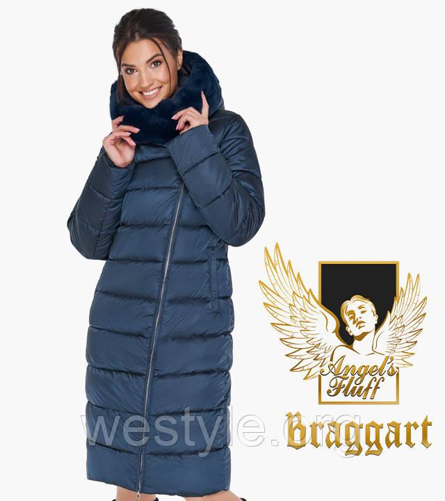 Воздуховик женский с натуральным мехом на капюшоне Braggart Angel's Fluff - 31049 сапфировая