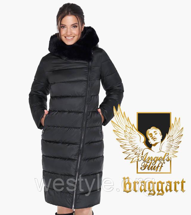 Воздуховик женский с натуральным мехом на капюшоне Braggart Angel's Fluff - 31049 черная