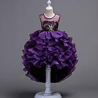 Праздничное  платье с воланами и шлейфом для девочки Беатрис фиолетовое