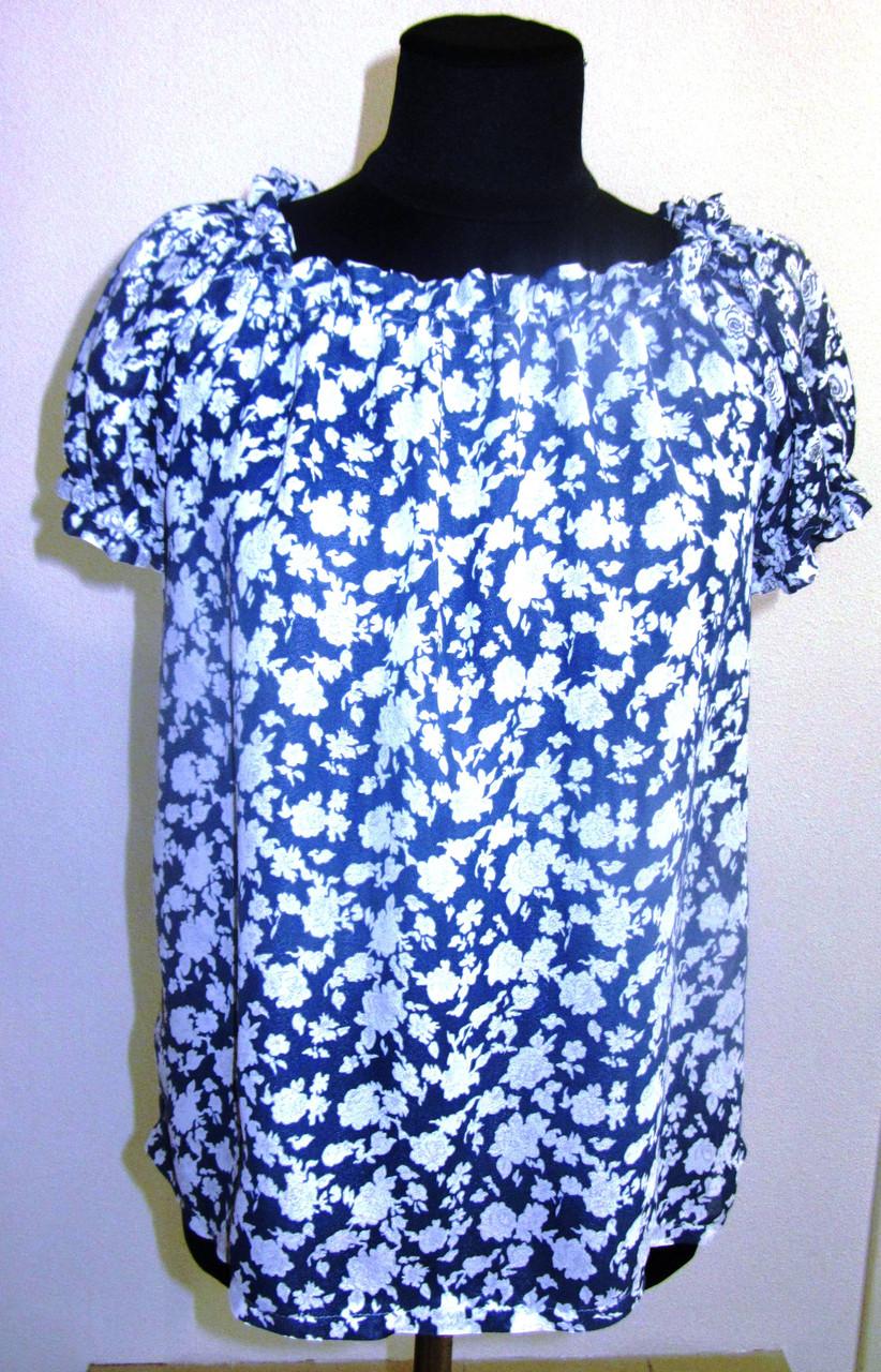 Блуза женская  с цветочным рисунком, 46,48, 50,52, тонкая легкая ,купить , Бл 019-5.