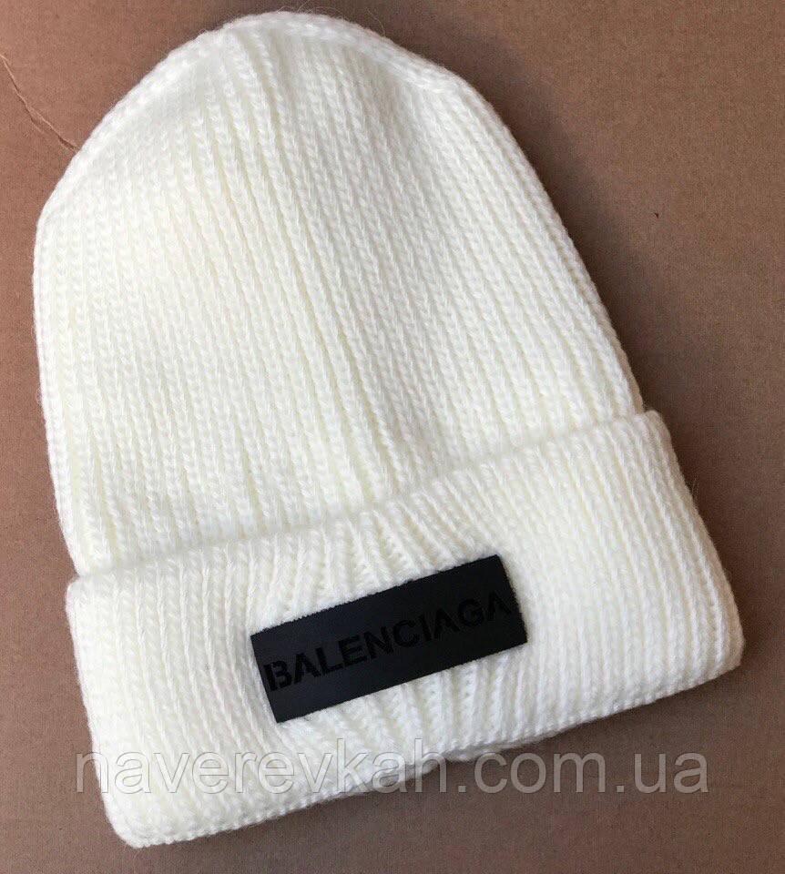 Женская зимняя теплая шапка вязка флис