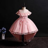 Нарядное платье для девочки со шлейфом дорогим кружевом Адель