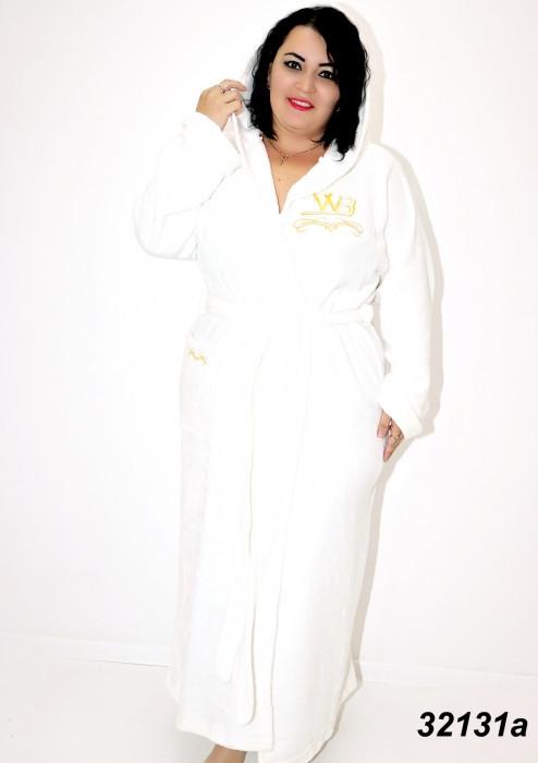 Халат махровый белый,батальный с вышивкой 54,56,58