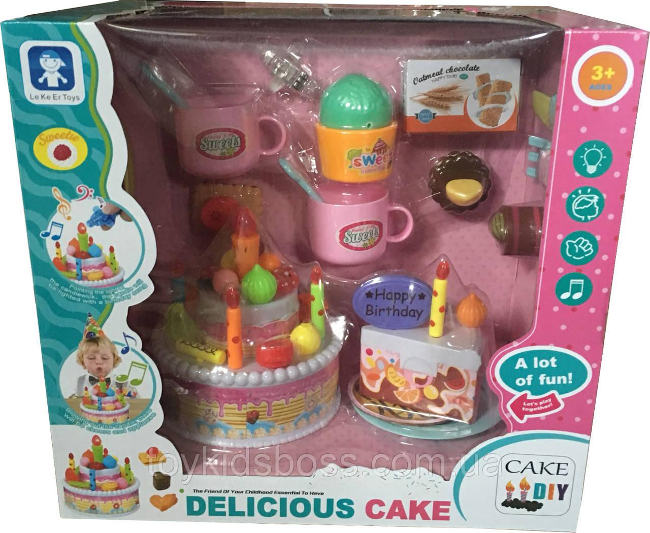 Большой празничный торт с аксессуарамы Le Ke Er Toys Delicious cake