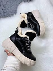 Женские черные кроссовки на бежевой платформе экозамш+экокожа Зима