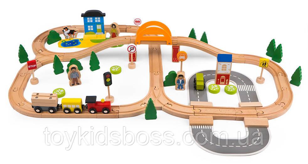 Деревянная железная дорога Tianqi Wooden Train Set 78 элементов