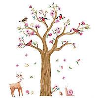 Интерьерная наклейка на стену акварельная Дерево JM7336