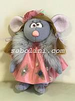 Новогодний сувенир крыска с мехом