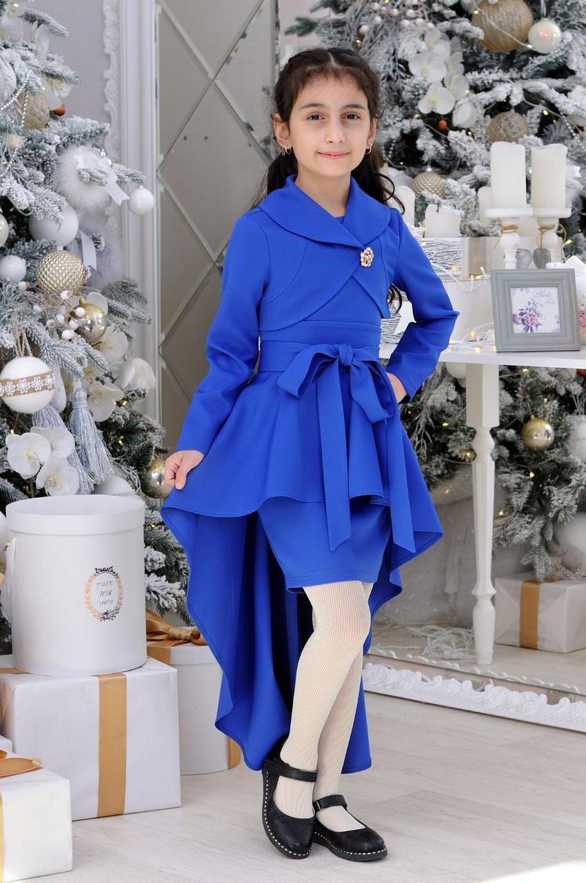 Нарядное платье с болеро для девочки  р.40-44 синие