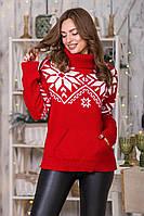 Свитер женский теплый свитер с горлом женский Красный, фото 1