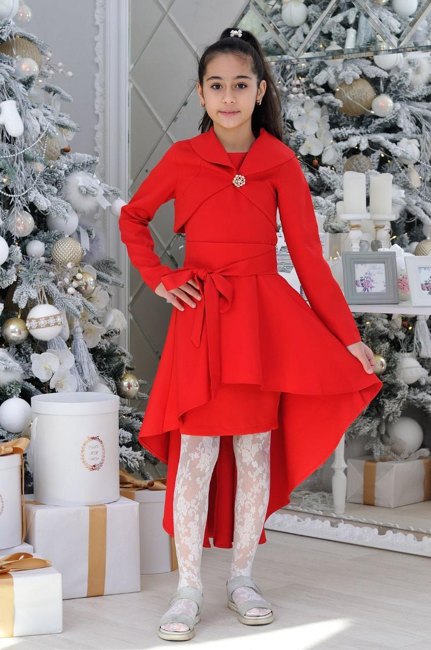 Нарядное платье с болеро для девочки  р.40-44 красное