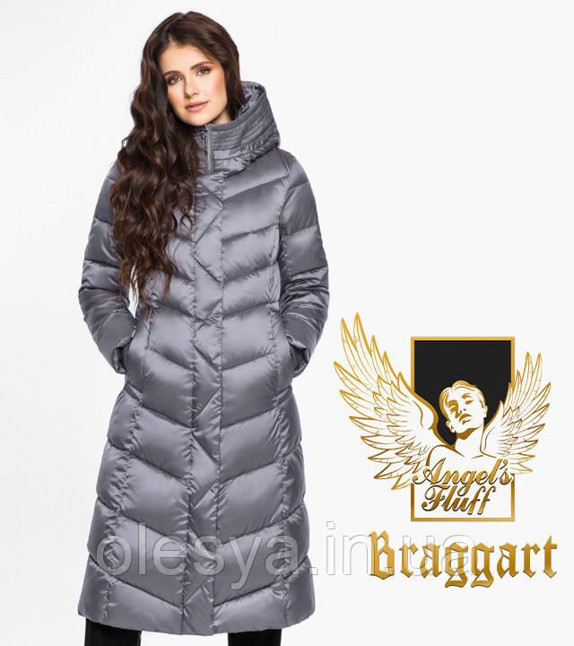 Воздуховик Braggart Angel's Fluff 31024   Длинная женская куртка жемчужно-серая