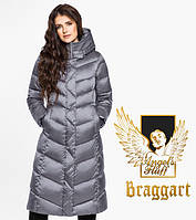 Воздуховик Braggart Angel's Fluff 31024 | Длинная женская куртка жемчужно-серая
