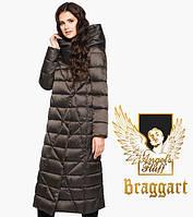 Воздуховик Braggart Angel's Fluff 31058 | Длинная женская куртка капучино Размеры 54- 60