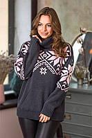 Свитер женский теплый свитер с горлом женский Темно-Серый, фото 1