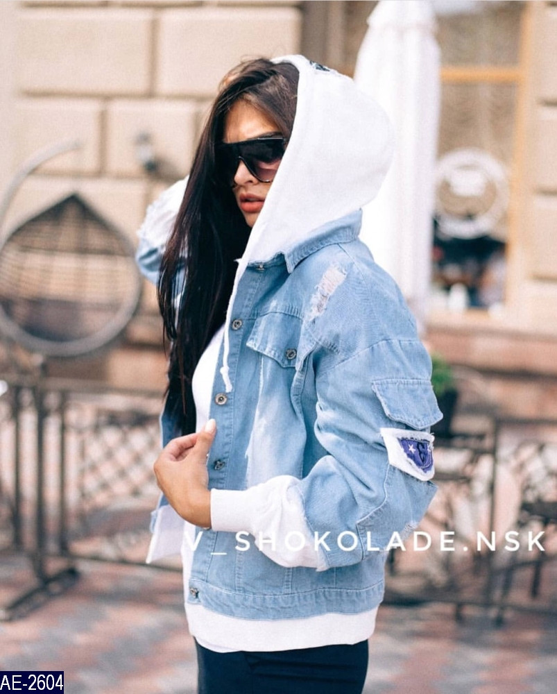 Джинсовая куртка с капюшоном женская