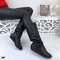 Женские сапожки черные на низком ходу, фото 1