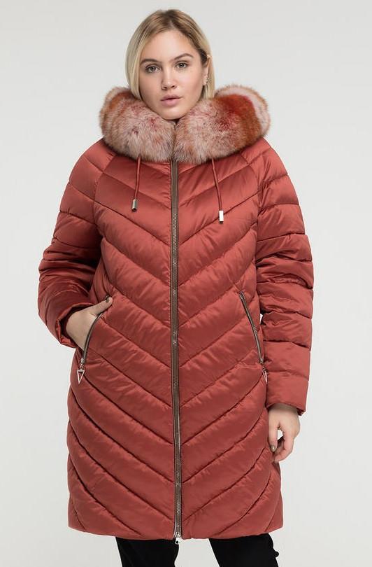 Пуховик женский, куртка зимняя батальная цвет красная бронза, опушка мех песеца