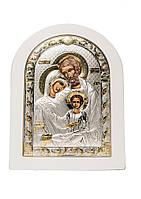 Святое Семейство Икона Серебряная с позолотой в белом цвете AGIO SILVER (Греция) 120 х 160 мм