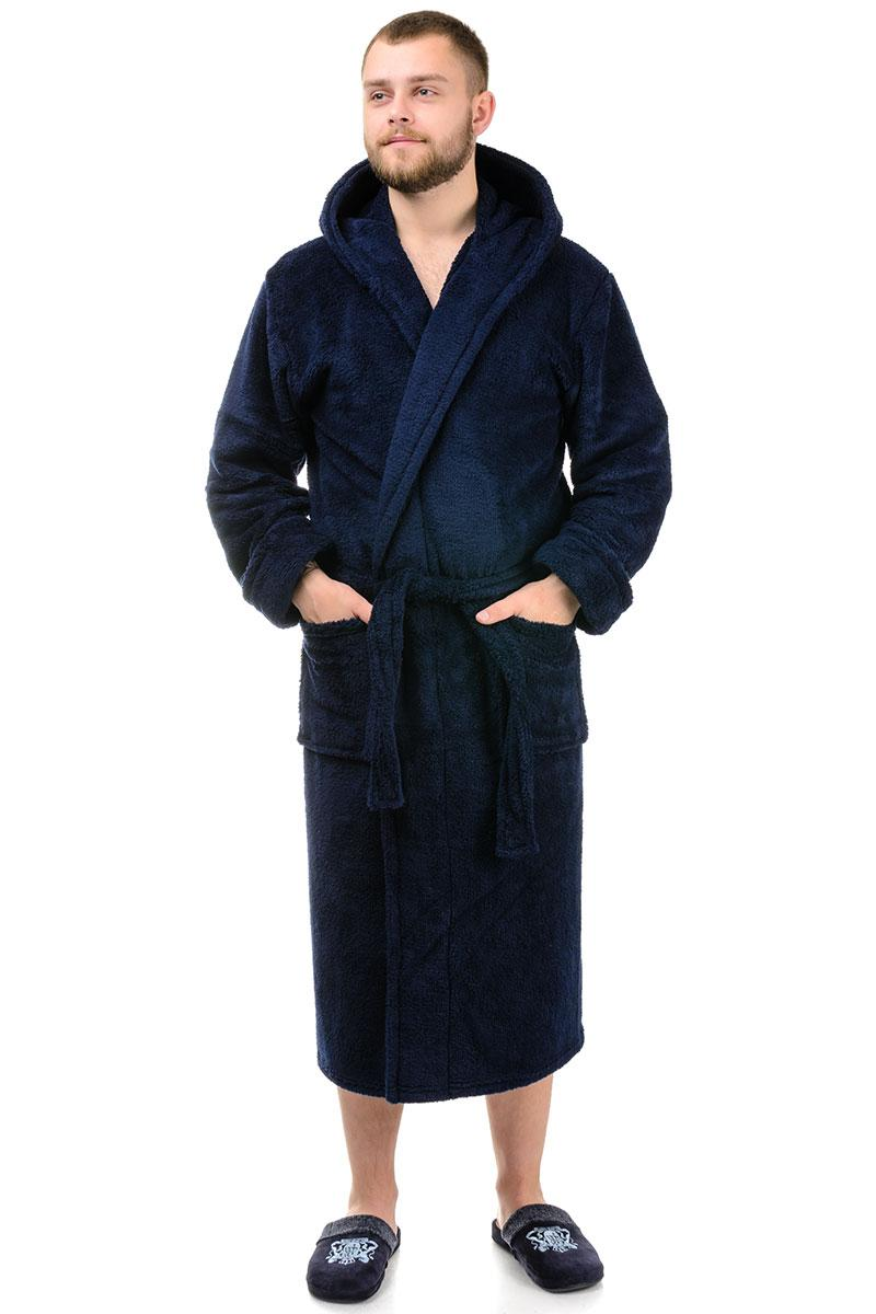 Мужской халат однотонный (темно-синий)