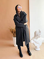Женская длинная стильная шуба - графит