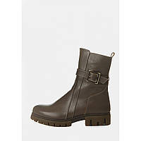 Зимние женские кожаные ботинки капучино, фото 1