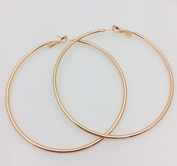 Серьги кольца Fallon высота 70 мм , позолота 18К