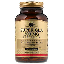 """Масло огірочника SOLGAR """"Super GLA"""" Borage Oil, холодного віджиму, 300 мг (60 гельових капсул)"""