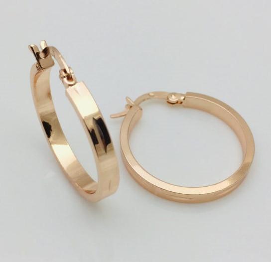 Сережки кільця Fallon висота 25 мм ширина 3 мм, позолота 18К