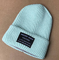 Женская зимняя теплая вязанная шапка вязка флис черный графит синий красный ментол марсала зелёный пудра, фото 1
